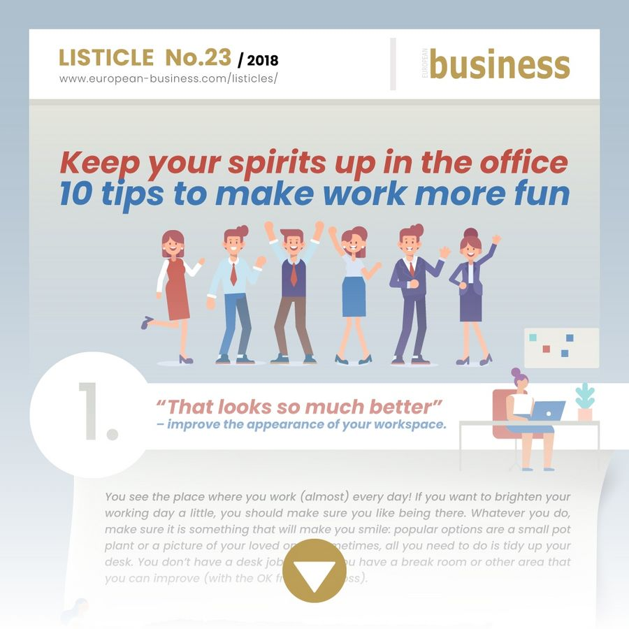 Keep your spirits up in the office – 10 tips to make work more fun