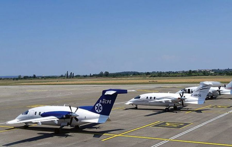 Two out of five Oyonnair's aircraft are stationed at Paris Le Bourget Airport