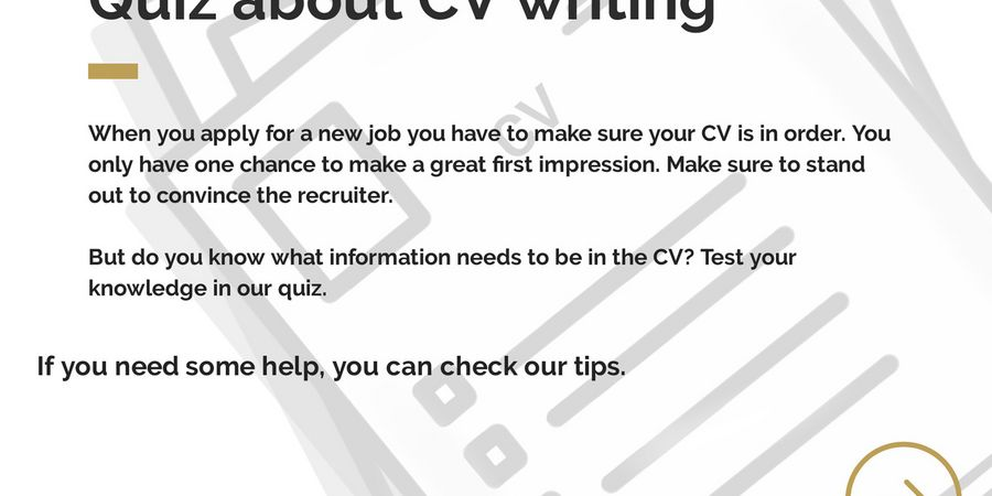 Quiz about CV writing