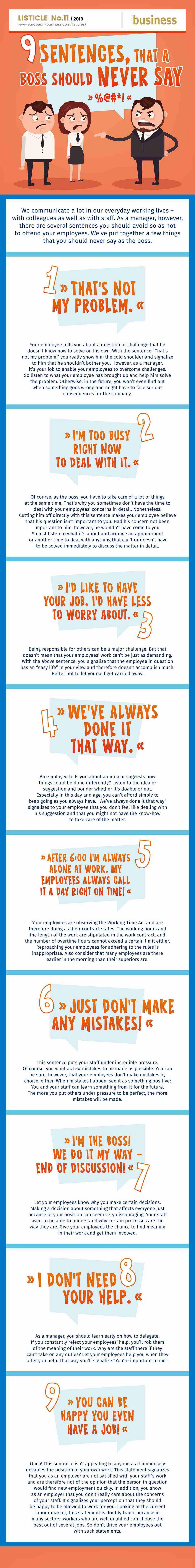 9 sentences that a boss should never say | european-business.com