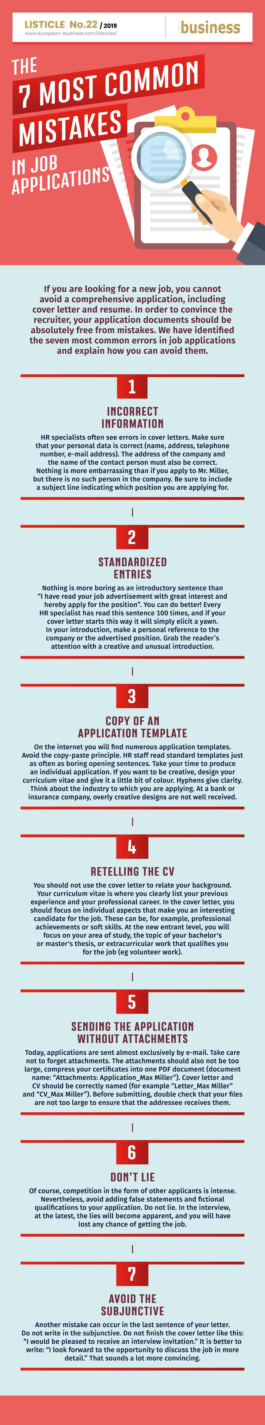 The 7 most common mistakes in job applications